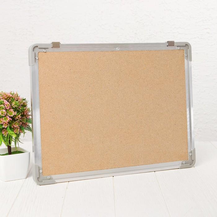 Доска под кнопки двустороняя, синняя и пробковая, 40 × 30 см