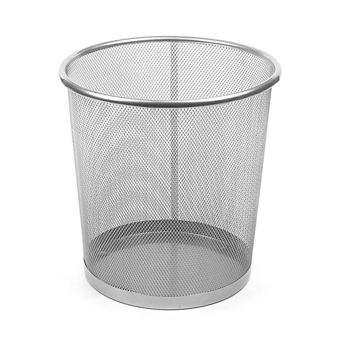 Корзина для бумаг сетка металлическая серая 15 литров