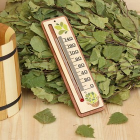 Термометр деревянный 'Шайка и веник', 19х5х1см, Добропаровъ Ош
