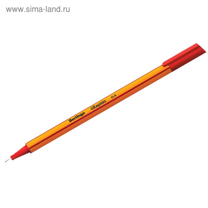 """Ручка капиллярная Berlingo """"Rapido"""" 0,4мм, трехгранная, красная"""