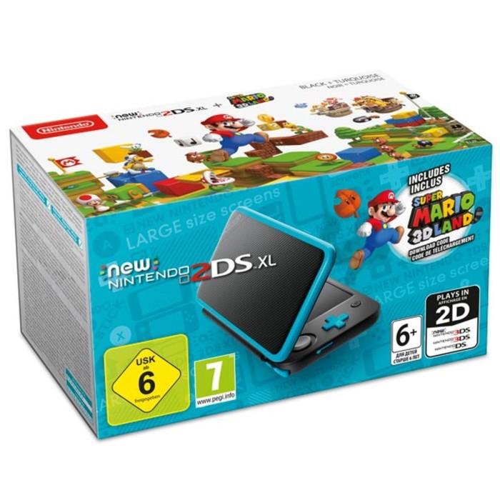 Nintendo 3DS: New Nintendo 2DS XL + Super Mario 3D Land Nintendo, цвет черный-бирюзовый