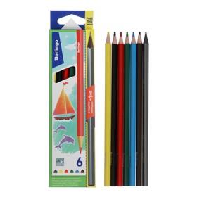 Карандаши цветные 6 цветов Berlingo «Корабли» + чернографитный карандаш