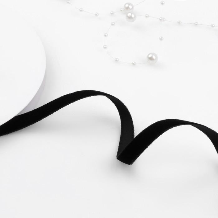 Лента бархатная, 10 мм, 18 ± 1 м, цвет чёрный №03