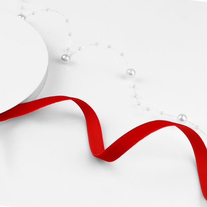 Лента бархатная, 10 мм, 18 ± 1 м, цвет красный №40