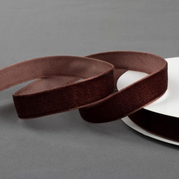 Лента бархатная, 15 мм, 18 ± 1 м, цвет коричневый №70