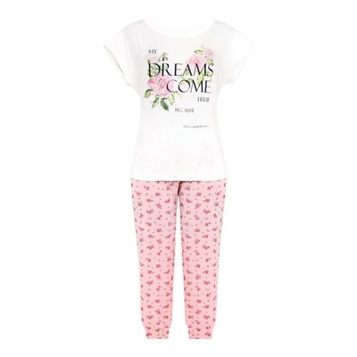 Комплект (футболка+бриджи) женский, размер 50, принт розочки Е 2182