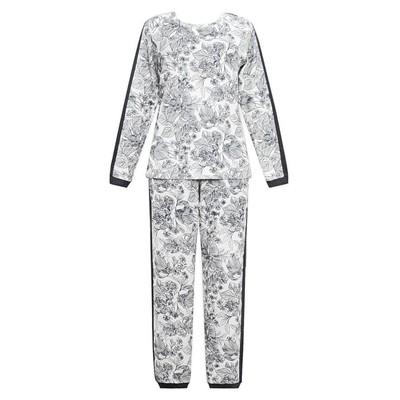 Комплект (джемпер+брюки) женский, размер 44, принт цветы Е 2202