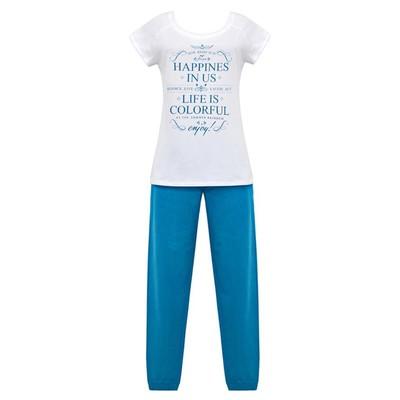 Комплект (футболка+брюки) женский, размер 50, цвет белый/бирюза Е 2212
