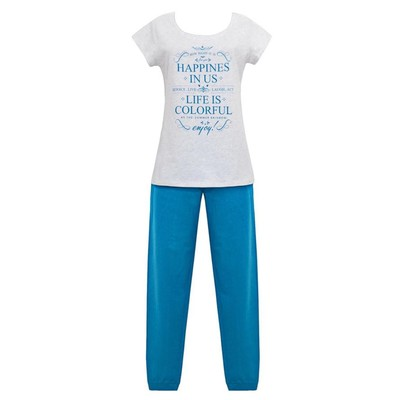 Комплект (футболка+брюки) женский, размер 50, цвет серый/бирюза Е 2212