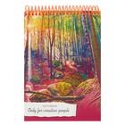 """Скетчбук А5, 80 листов на гребне """"Красочный лес"""", обложка мелованный картон"""