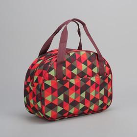 Сумка дорожная 'Мозаика', отдел на молнии, наружный карман, цвет красный Ош
