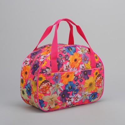 Сумка дорожная, отдел на молнии, наружный карман, цвет розовый/разноцветный