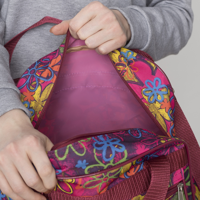 Сумка хозяйственная, трансформер, отдел на молнии, наружный карман, цвет бордовый/голубой