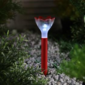 """Фонарь садовый на солнечной батарее """"Цветок красный"""", 32 см, d=6 см, 1 led, пластик"""