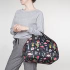 Сумка дорожная «Фламинго», отдел на молнии, наружный карман, цвет чёрный