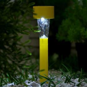 """Фонарь садовый на солнечной батарее """"Трапеция"""", 31 см, d=4.5 см,1 led,пластик, желтая ножка"""