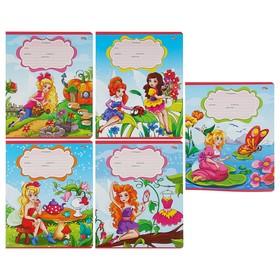 Тетрадь 12 листoв частая косая линейка 'Цветочные феи-3' обложка картон хромэрзац, 5 видов Ош