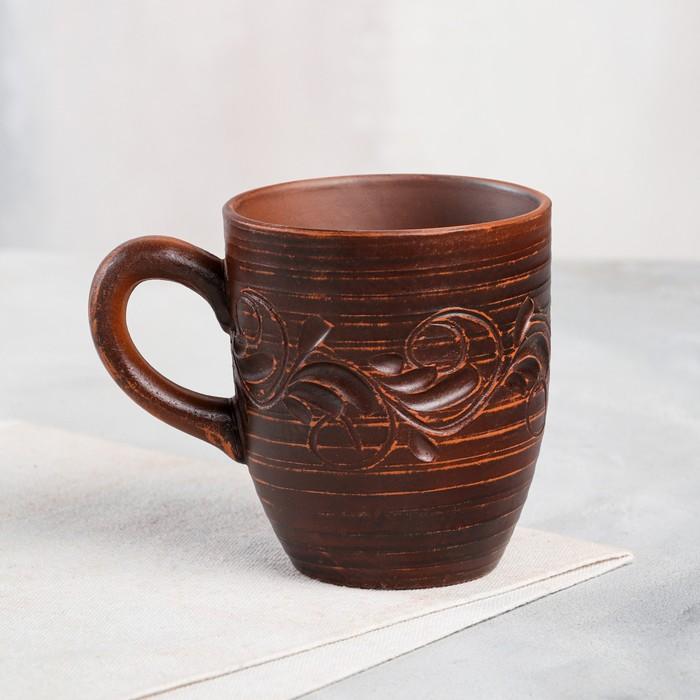"Чашка ""Чайная"", декор, красная глина, 0,3 л"