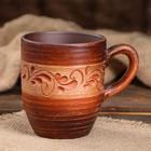 """Чашка """"Чайная"""", ангоб, красная глина, 0,3 л"""