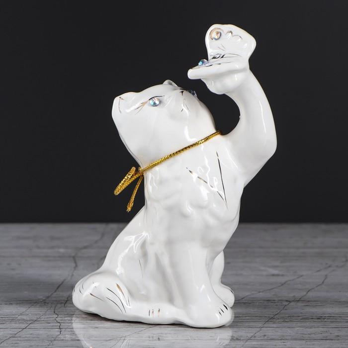 """Копилка """"Кот с бабочкой"""", покрытие лак, белая, 14 см, микс - фото 702186738"""