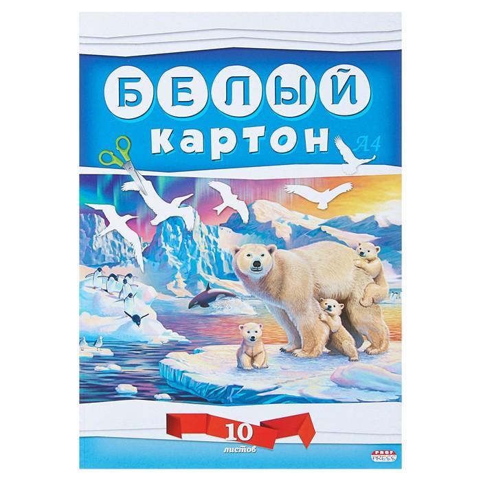 """Картон белый А4, 10 листов """"Белые мишки"""""""