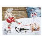 """Скетчбук А5, 40 листов на скрепке """"Медведь-гитарист"""", обложка мелованный картон, глянцевая ламинация"""