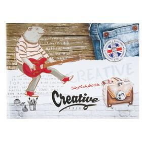 Скетчбук А5, 40 листов на скрепке «Медведь-гитарист», обложка мелованный картон, глянцевая ламинация, блок 80 г/м2