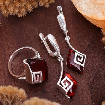 """Set silver plated 2 pieces: earrings, ring """"amber"""" Egypt, color brown, size 19"""