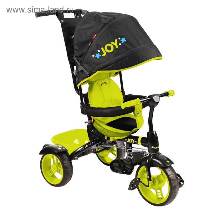 """Велосипед трёхколёсный Nika ВД4, колёса EVA 10""""/8"""", цвет чёрный/лимонный"""