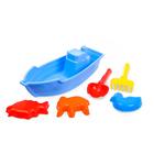 Песочный набор: 3 пасочки, лопатка, грабли, лодочка 3. МИКС