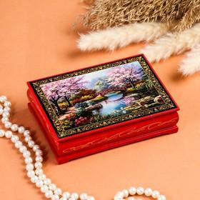 Шкатулка «Цветение сакуры», красная, 10×14 см, лаковая миниатюра