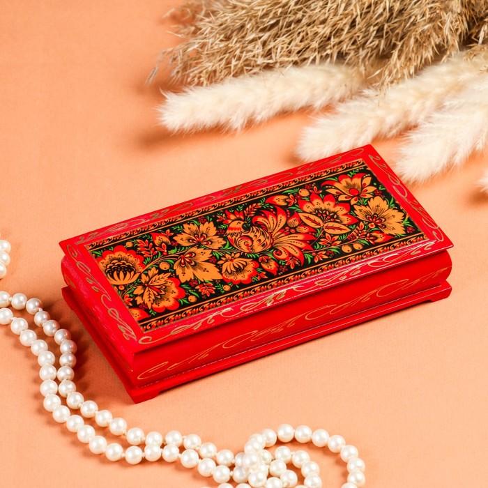 Шкатулка - купюрница «Узоры», 8,5×17 см, красная, лаковая миниатюра