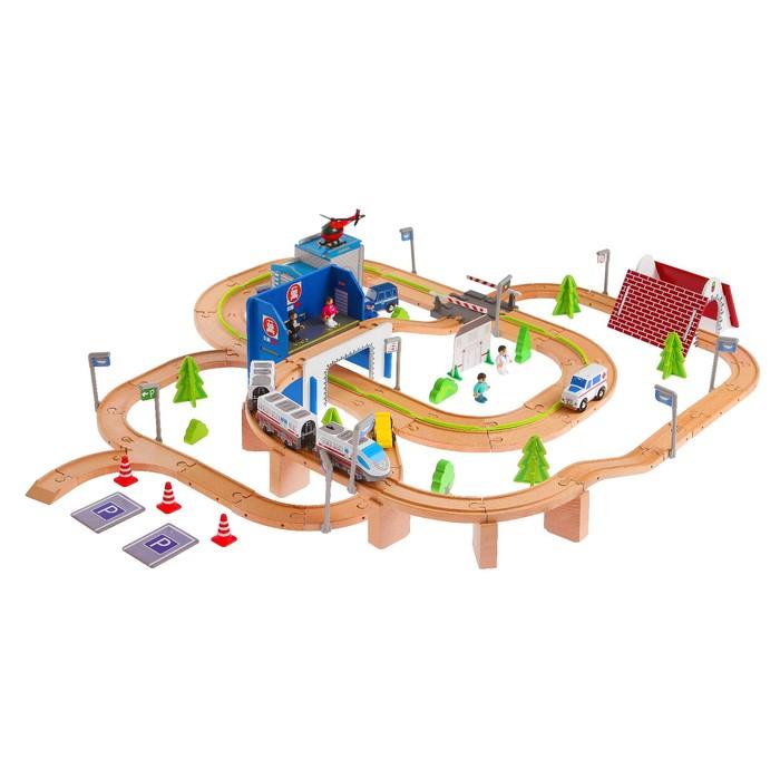 """Железная дорога """"Транспортная развязка"""" с мостом и аркой, 149 элементов, поезд на батарейках"""