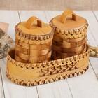 Набор для специй «Плетёнка», 3 предм.: 2 туеса 6х10 см, 0,1 л, подставка 15х7х4 см, береста   358663