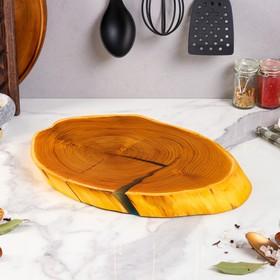 """Доска темная сервировочная из массива оливы """"Спил"""", 40-50 х 30-25 см, микс"""
