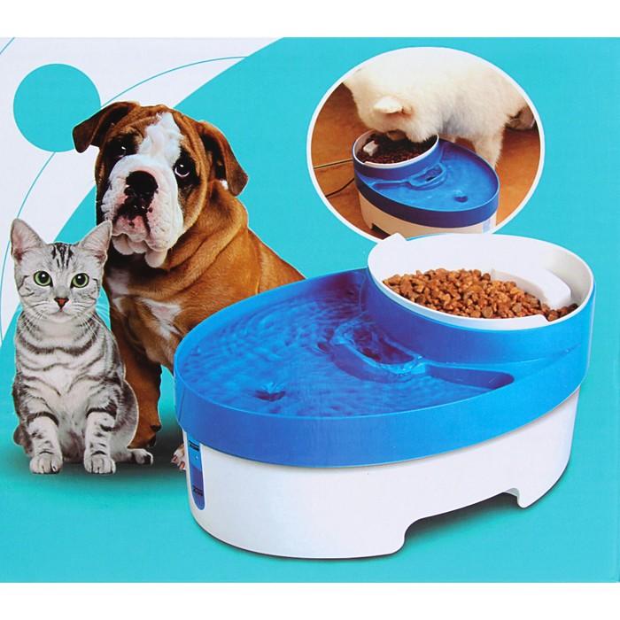 Питьевой фонтанчик (3 л) для животных с миской для корма (800 мл), миска с мерной шкалой