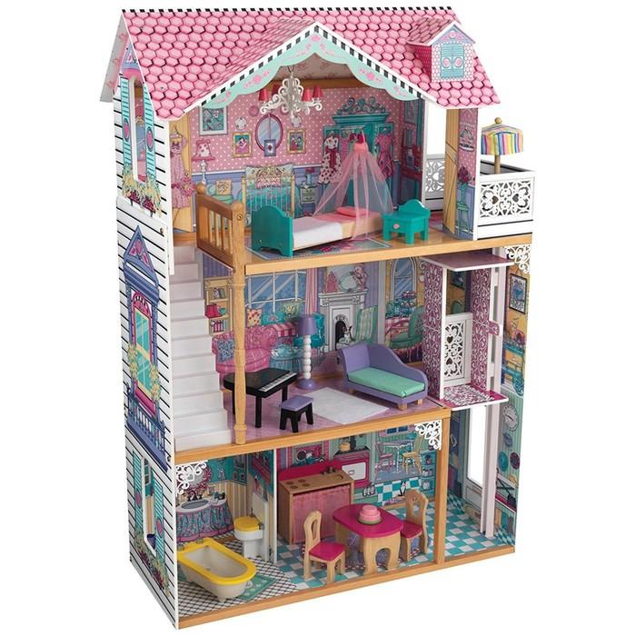 Дом для кукол трёхэтажный «Аннабель», с мебелью, 17 элементов