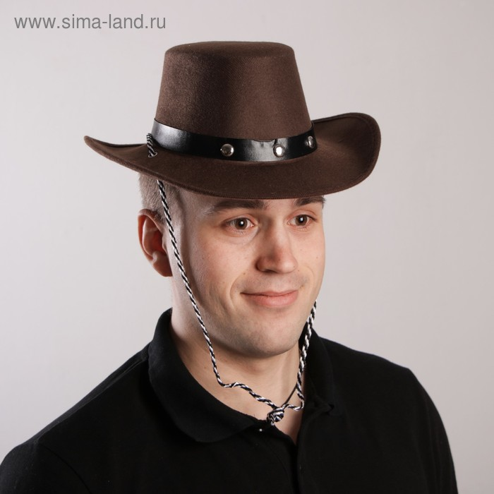 Carnival hat Cowboy, 52-54 cm, color brown