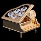 Сувенир «Рояль», с часами, 5,5х6,8х6,5 см, с кристаллами Сваровски
