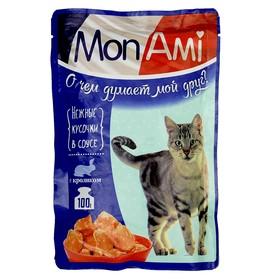 Влажный корм MonAmi для кошек, нежные кусочки кролика, пауч, 100 г Ош