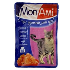 Влажный корм MonAmi для кошек, нежные кусочки индейки, пауч, 100 г Ош