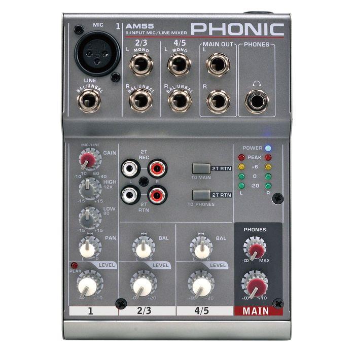 Микшерный пульт Phonic AM 55  5-и канальный с 1 микр/лин + 2 стерео канала (10шт)