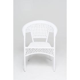 Стул, 64 × 64 × 80 см, искусственный ротанг, белый