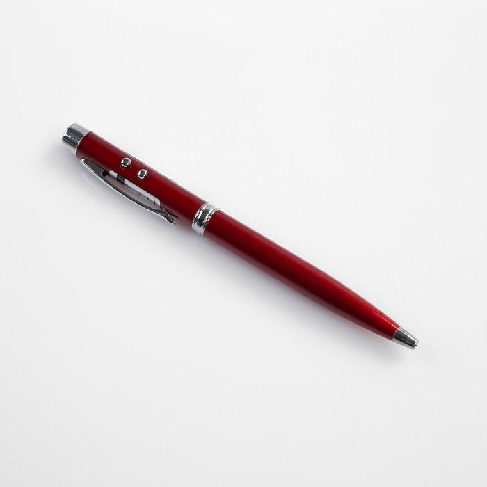 Фонарик карманный с шариковой ручкой, 2 света, микс