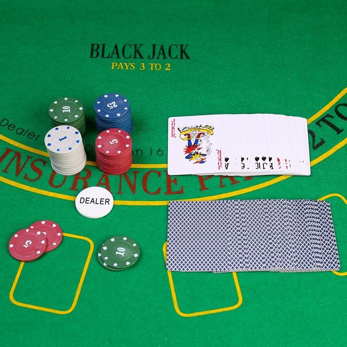 Набор для покера Poker Chips: колода карт 54 шт., 60 фишек, в блистере