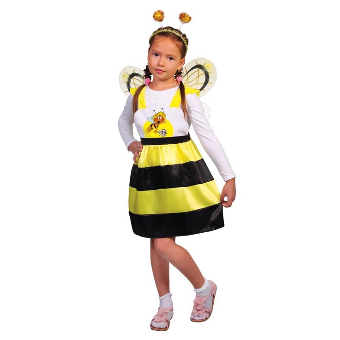 """Карнавальный костюм """"Пчёлка Жужа"""", сарафан, ободок, крылья, р-р 32, рост 122-128 см"""