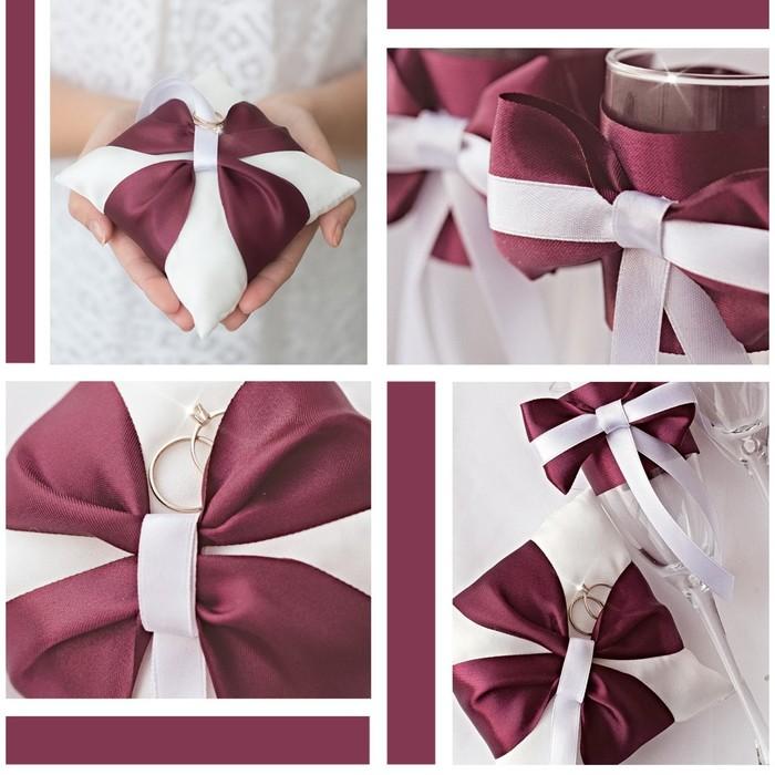 Подушечки для колец и бокалов «Роза любви», набор для шитья, 21 × 15 см - фото 691986
