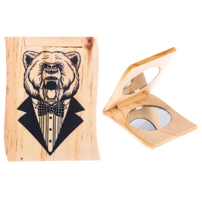 """Деревянное зеркало мужское """"Медведь"""""""