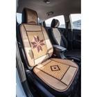 Накидка-массажер на сиденье, с деревянной вставкой, цвет бежевый