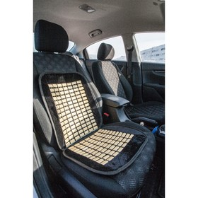 This car seat massager seat with a bamboo insert, black